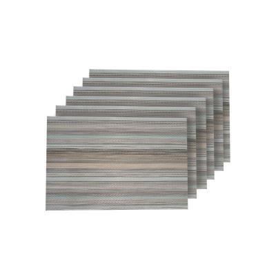 Multistripes Woven Textilene Reversible Rectangle Placemats (Set of 6)
