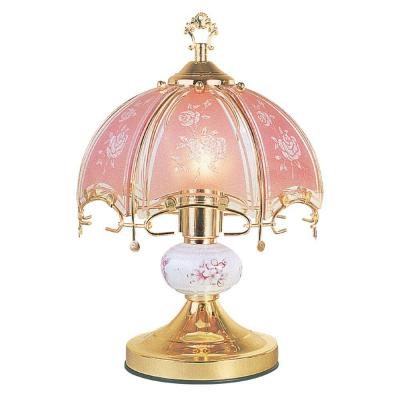 ORE International 14 in. Floral Brushed Gold and Pink Touch Lamp