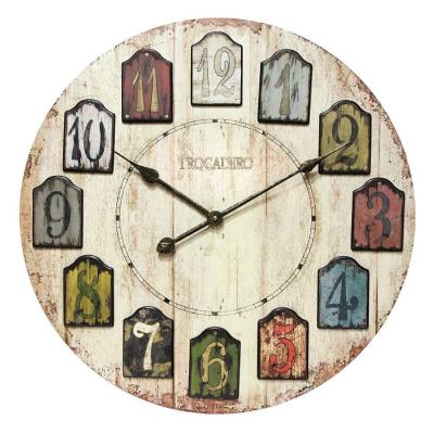 Home Decorators Collection 23.75 in. W Weathered Multicolored Plank Wall Clock