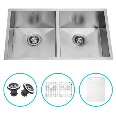 Vigo Undermount Stainless Steel 32 in. Double Bowl Kitchen Sink with Grid and Strainer