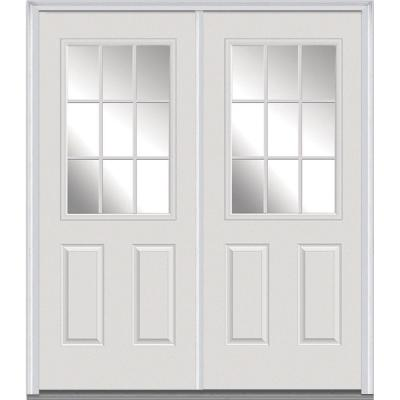 60 in. x 80 in. Classic Clear Glass GBG 1/2 Lite Painted Builders Choice Steel Double Prehung Front Door Product Photo