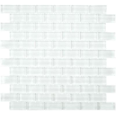 Tessera Subway Ice White 11-3/4 in. x 11-3/4 in. x 8 mm Glass Mosaic Wall Tile Product Photo