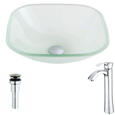 Vista Series Deco-Glass Vessel Sink in Lustrous Frosted with Harmony Faucet