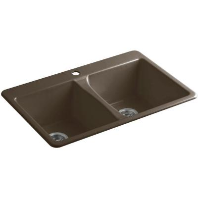 Deerfield Top Mount Cast-Iron 33 in. 1-Hole Double Bowl Kitchen Sink