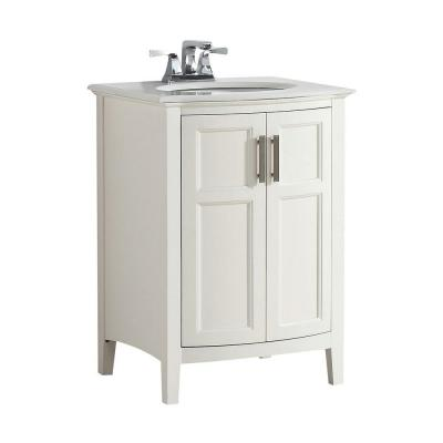 Simpli Home Winston Rounded Front 24 in. W Vanity in Soft White with Quartz Marble Vanity Top in White with White Basin