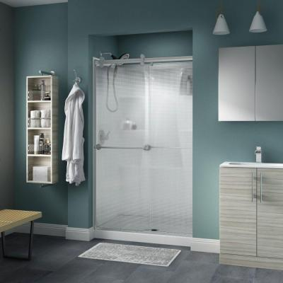 Delta Silverton 48 in. x 71 in. Semi-Frameless Contemporary Sliding Shower Door in Nickel with Droplet Glass