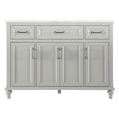 Charleston 49 in. W x 22 in. D Vanity in Grey with Marble Vanity Top in Carrara White with White Basin Product Photo