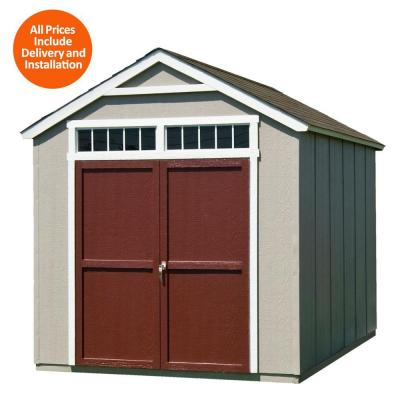 Installed Majestic 8 ft. x 12 ft. Wood Storage Shed with Driftwood Shingles Product Photo