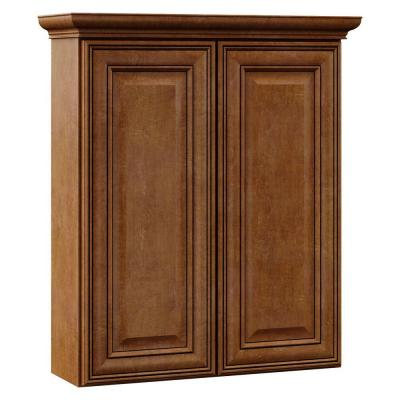 Oxford 24 in. W x 28-1/2 in. H x 7-1/4 in. D Bath Storage Cabinet in Toasted Almond Product Photo
