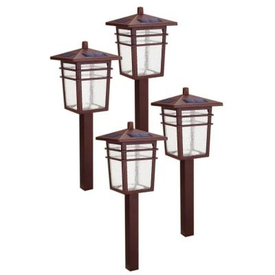 Hampton bay solar square mission led bronze outdoor for Outside path lights