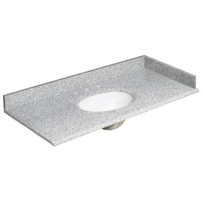 49 in. W Granite Vanity Top in Rushmore Grey and Basin in White with Backsplash and Optional Sidesplash
