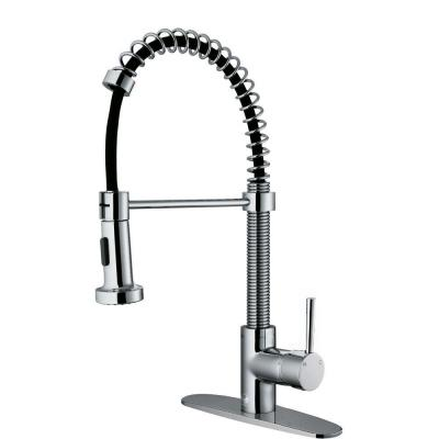 Edison Single-Handle Pull-Out Sprayer Kitchen Faucet with Deck Plate in Chrome Product Photo
