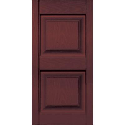 Builders Edge 15 in. x 31 in. Raised Panel Vinyl Exterior Shutters Pair in #167 Bordeaux