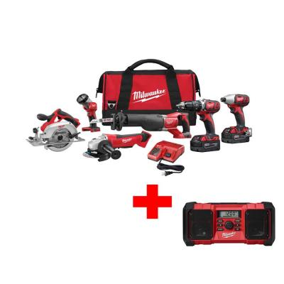 Milwaukee M18 18-Volt Lithium-Ion Cordless Combo Kit (6-Tool) with Free M18 Radio