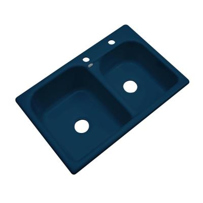 Cambridge Drop-in Acrylic 33x22x10.5 2-Hole Double Bowl Kitchen Sink in Navy Blue