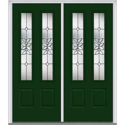 64 in. x 80 in. Cadence Decorative Glass 2 Lite Painted Majestic Steel Double Prehung Front Door Product Photo