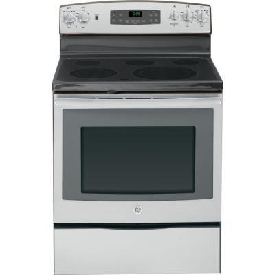 GE5.3 cu. ft. Electric Range with Self-Cleaning Oven and Convection in Stainless Steel