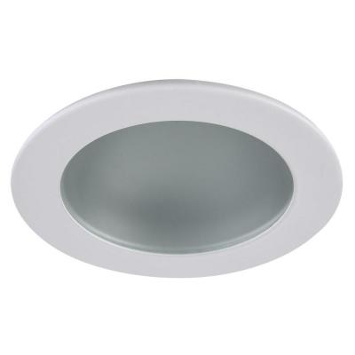 3 in. Recessed Shower Trim Frost Glass with Matte White Trim