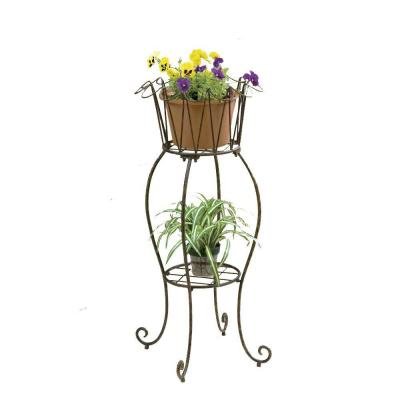 Deer Park 16 in. Metal Tall Round Wave Planter