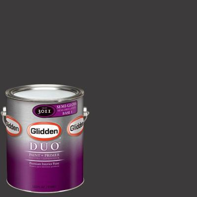 Glidden DUO 1-gal. #GLN62 Onyx Black Semi-Gloss Interior Paint with Primer