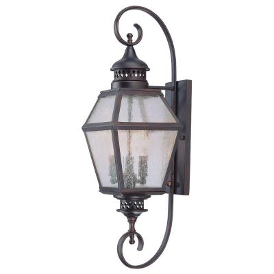 Illumine 3-Light Outdoor Wall Mount Lantern English Bronze Finish Pale Cream Scavo Glass