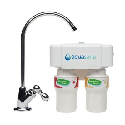 Aquasana Two Stage Under Counter Water Filtration System with Chrome Finish Faucet