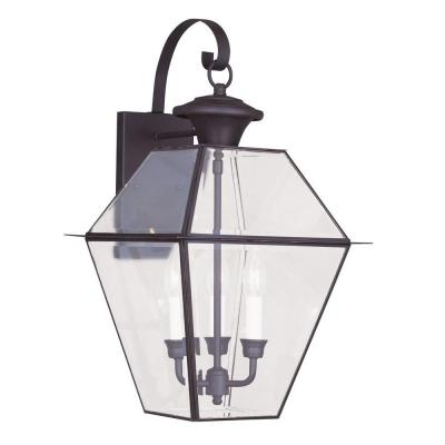 Filament Design 3-Light Outdoor Bronze Wall Lantern with Clear Beveled Glass