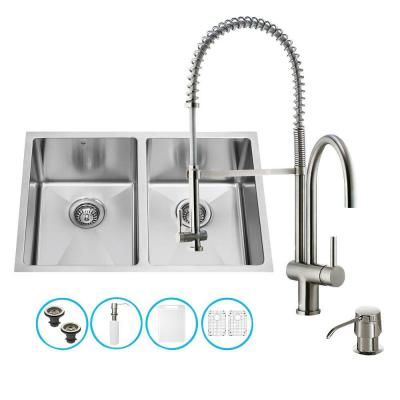 All-in-One Undermount Stainless Steel 29 in. Double Bowl Kitchen Sink in