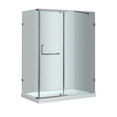 SEN975 48 in. x 35 in. x 77-1/2 in. Semi-Frameless Shower Enclosure in Chrome with Right Base Product Photo