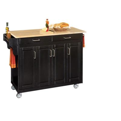 Home Styles Create-a-Cart in Black with Natural Wood Top