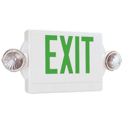 Lithonia Lighting Quantum 2-Light Thermoplastic LED Emergency Exit Sign/Fixture Unit Combo