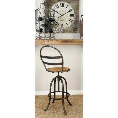 Rustic Iron and Wood Arched Round Bar Stool