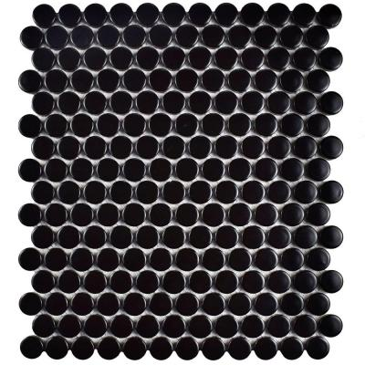 Metro Penny Matte Satin Black 9-3/4 in. x 11-1/2 in. x 6 mm Porcelain Mosaic Tile Product Photo