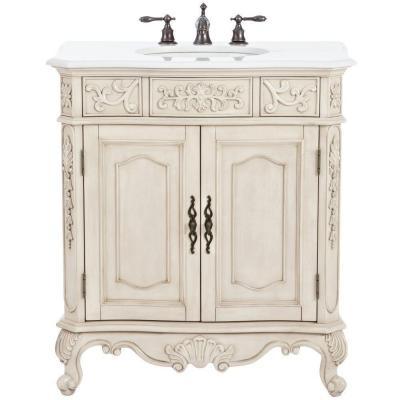Home Decorators Collection Winslow 33 in. W Vanity in Antique White with Marble Vanity Top in White with White Basin