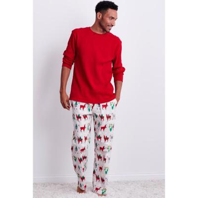 Family Flannel Men's Llama 2-Piece Thermal Pajama Set