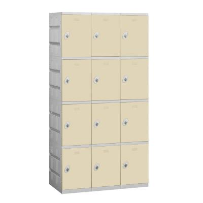 Salsbury Industries 94000 Series 38.25 in. W x 74 in. H x 18 in. D 4-Tier Plastic Lockers Assembled in Tan