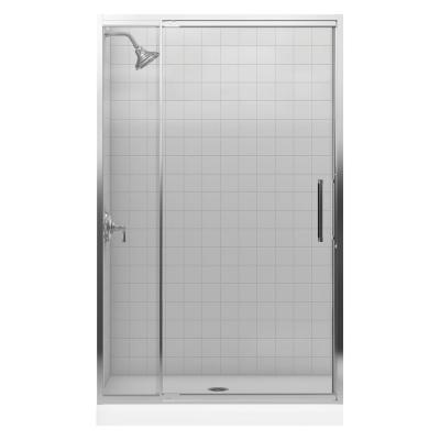 pivot shower door in bright silver k 705808 l sh the home depot