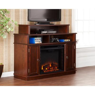 Southern Enterprises Abington 47.75 in. W Media Stand Electric Fireplace in Espresso