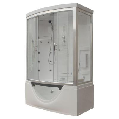 Steam Planet Hudson 59 in. x 33 in. x 88 in. Steam Shower Enclosure Kit with Whirlpool Tub in White