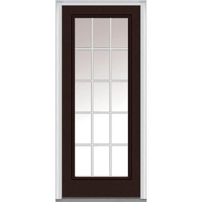 36 in. x 80 in. Classic Clear Glass GBG Full Lite Painted Fiberglass Smooth Prehung Front Door Product Photo