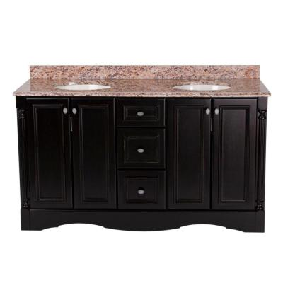 St. Paul Valencia 60 in. Vanity in Antique Black with Stone Effects Vanity Top in Santa Cecilia