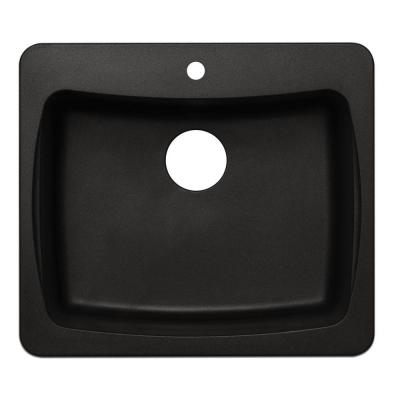 Astracast Dual Mount Granite 25 in. 1-Hole Single Bowl Kitchen Sink in Metallic Black
