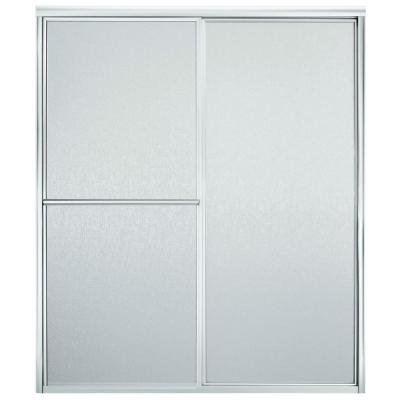 STERLING Deluxe 59-3/8 in. x 70 in. Framed Sliding Shower Door in Silver with Rain Texture Glass