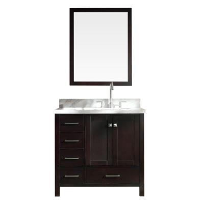 Ariel Cambridge 37 in. W x 22 in. D Vanity in Espresso with Carrara Marble Vanity Top in White with Basin and Mirror