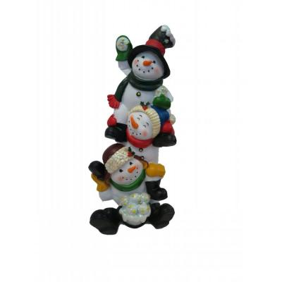 13 in. 3 Snowmen Statuary with Color Changing LED Lights