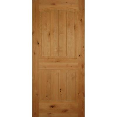 28 in. x 80 in. 2-Panel Arch Top V-Grooved Solid Core Knotty Alder Interior Door Slab Product Photo