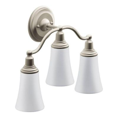 rothbury 3 globe brushed nickel bath light yb8263bn the home depot. Black Bedroom Furniture Sets. Home Design Ideas