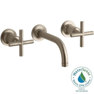Purist Wall-Mount 2-Handle Bathroom Faucet Trim Kit in Vibrant Brushed Bronze