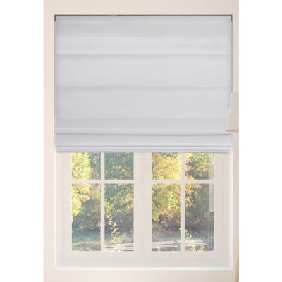 White Cordless Bottom Up Light Filtering with Backing Fabric Roman Shades