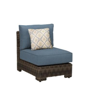 Northshore Middle Armless Patio Sectional Chair with Denim Cushion and Bazaar